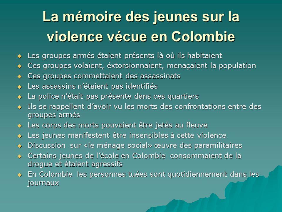 La mémoire des jeunes sur la violence vécue en Colombie