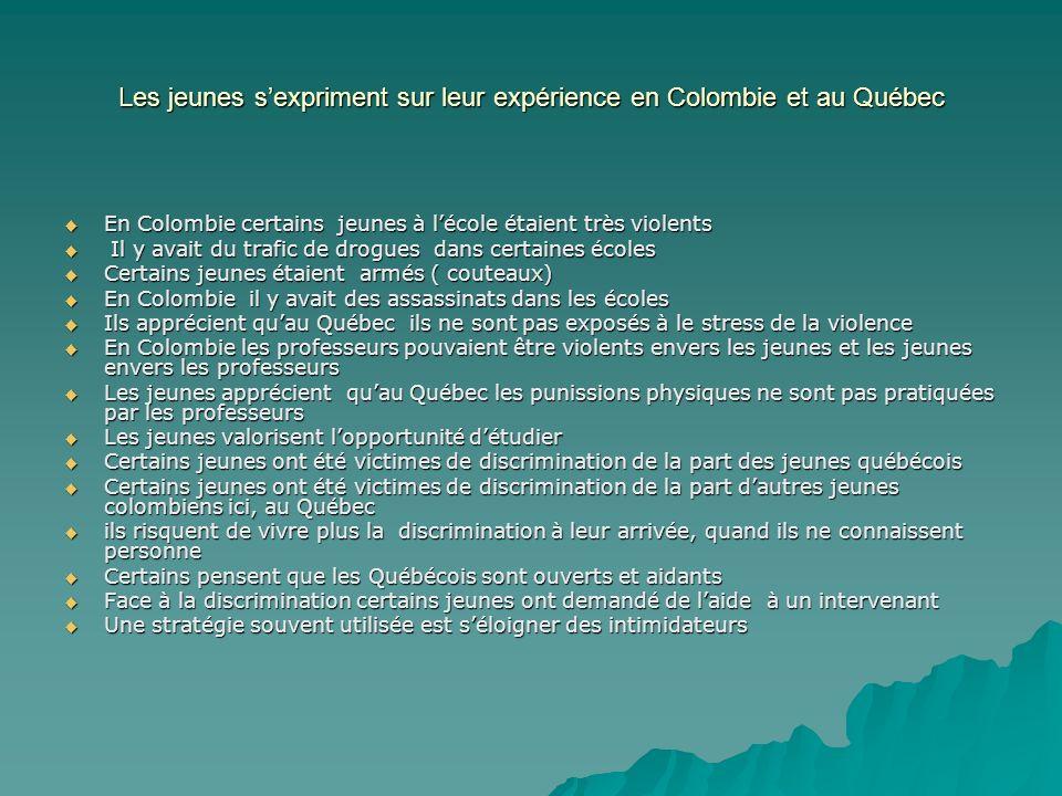 Les jeunes s'expriment sur leur expérience en Colombie et au Québec