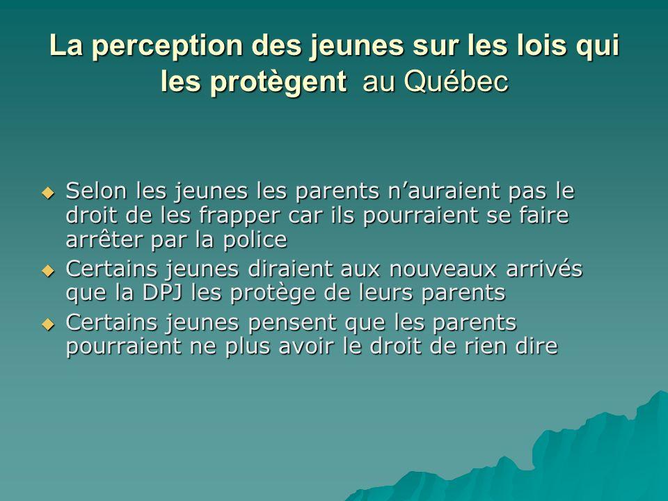 La perception des jeunes sur les lois qui les protègent au Québec