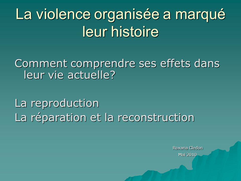La violence organisée a marqué leur histoire