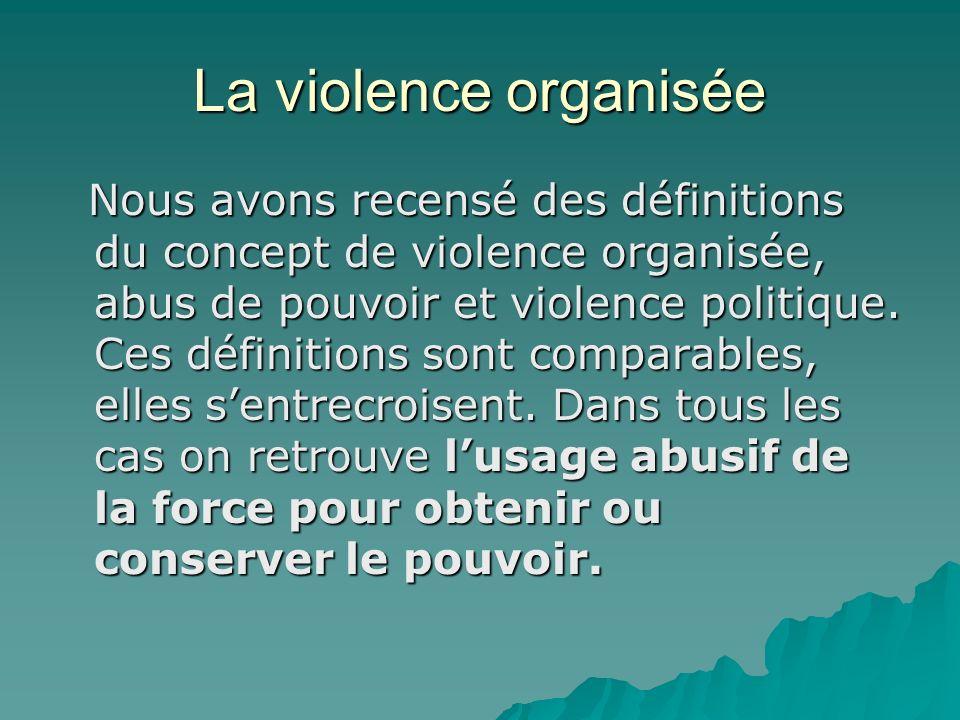 La violence organisée