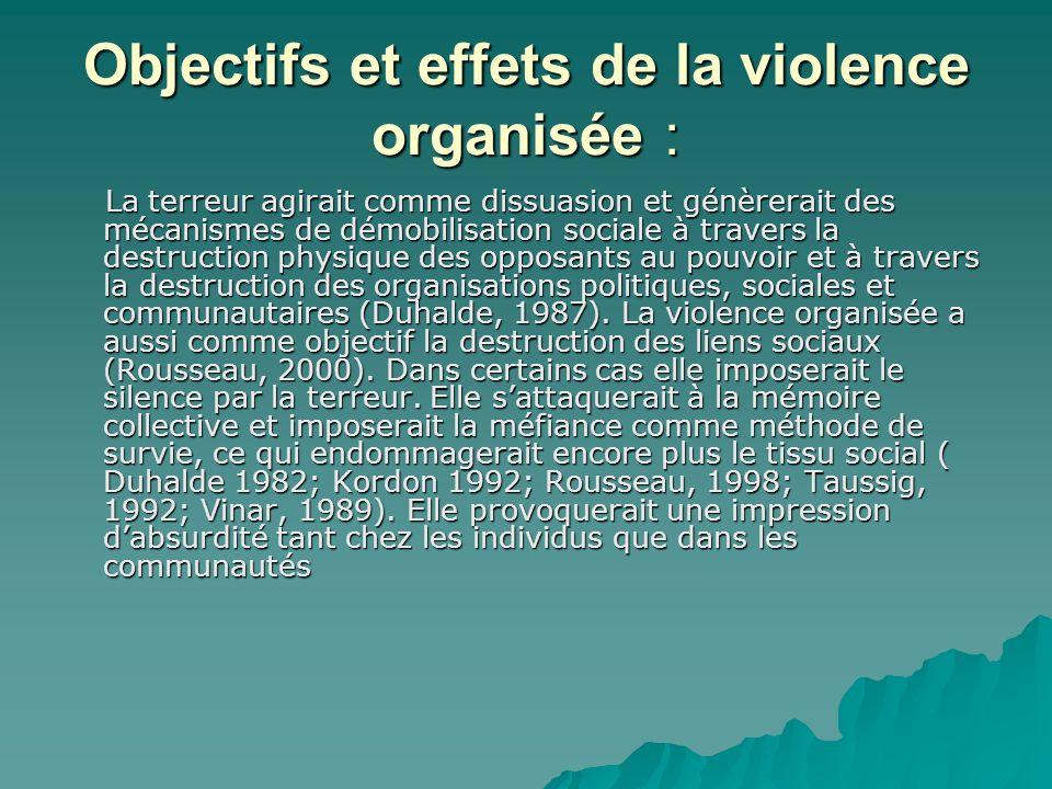 Objectifs et effets de la violence organisée :