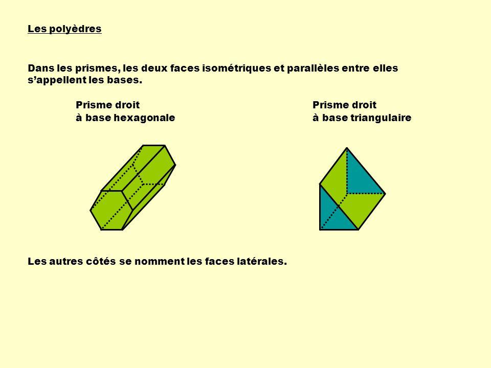 Les polyèdres Dans les prismes, les deux faces isométriques et parallèles entre elles s'appellent les bases.