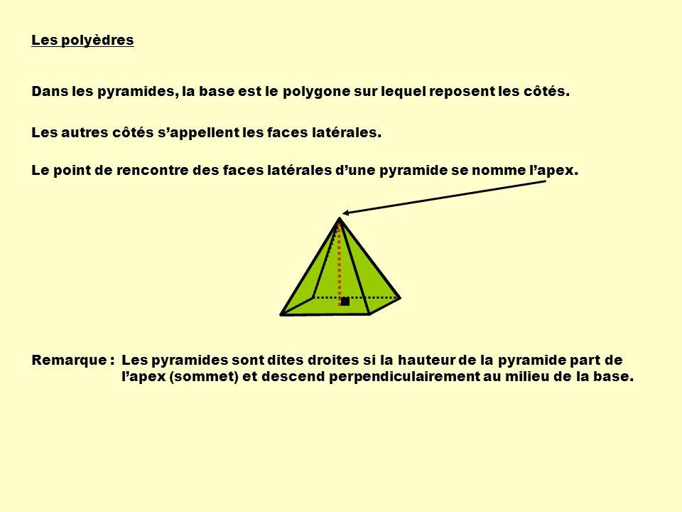 Les polyèdres Dans les pyramides, la base est le polygone sur lequel reposent les côtés. Les autres côtés s'appellent les faces latérales.