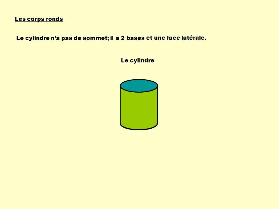 Les corps ronds Le cylindre n'a pas de sommet; il a 2 bases et une face latérale. Le cylindre