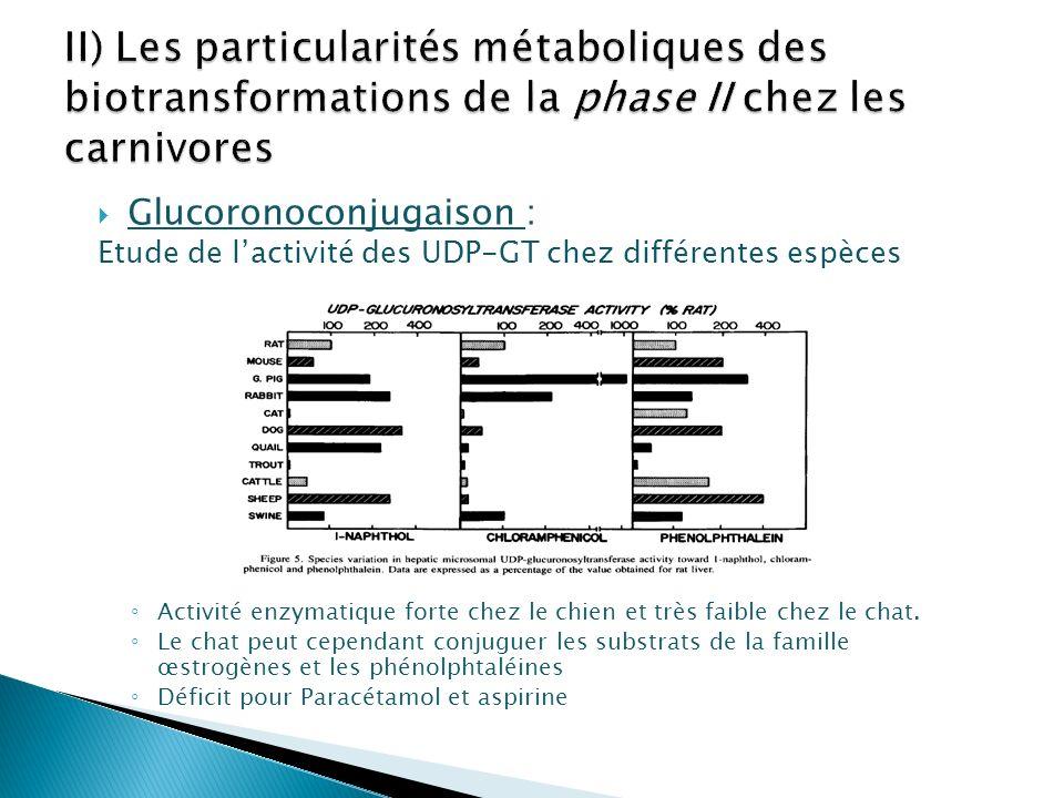 II) Les particularités métaboliques des biotransformations de la phase II chez les carnivores
