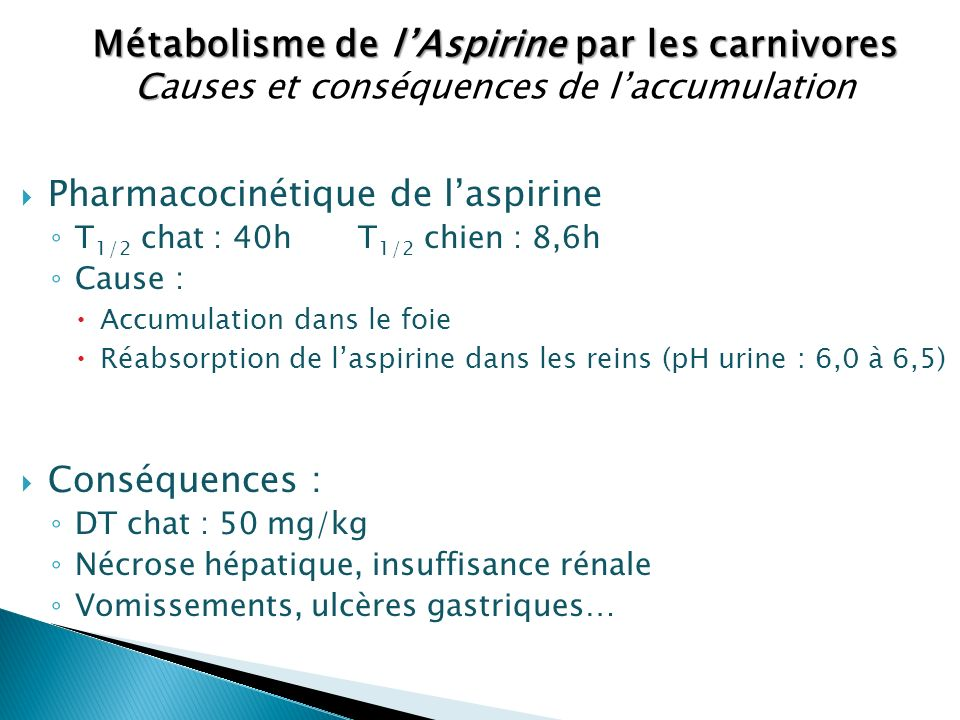 Métabolisme de l'Aspirine par les carnivores