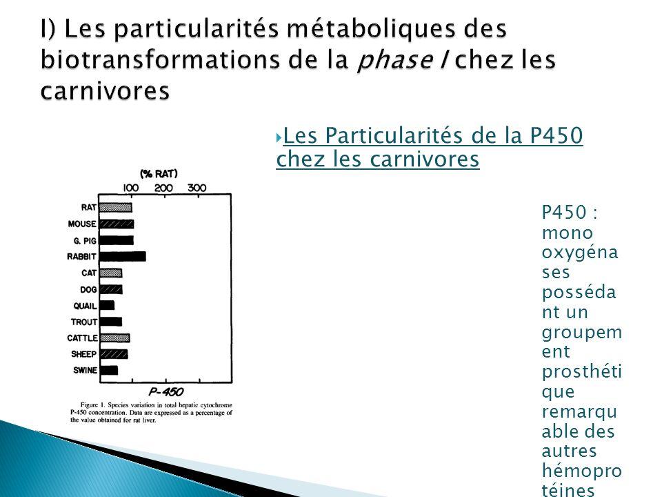 I) Les particularités métaboliques des biotransformations de la phase I chez les carnivores