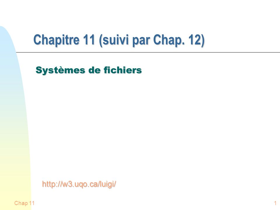 Chapitre 11 (suivi par Chap. 12)