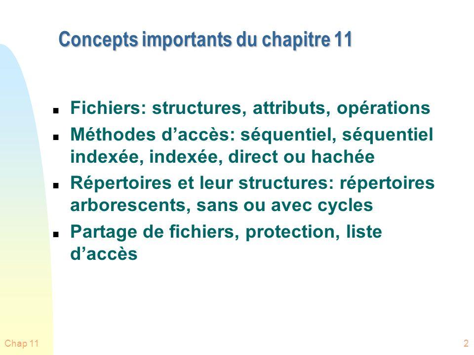 Concepts importants du chapitre 11