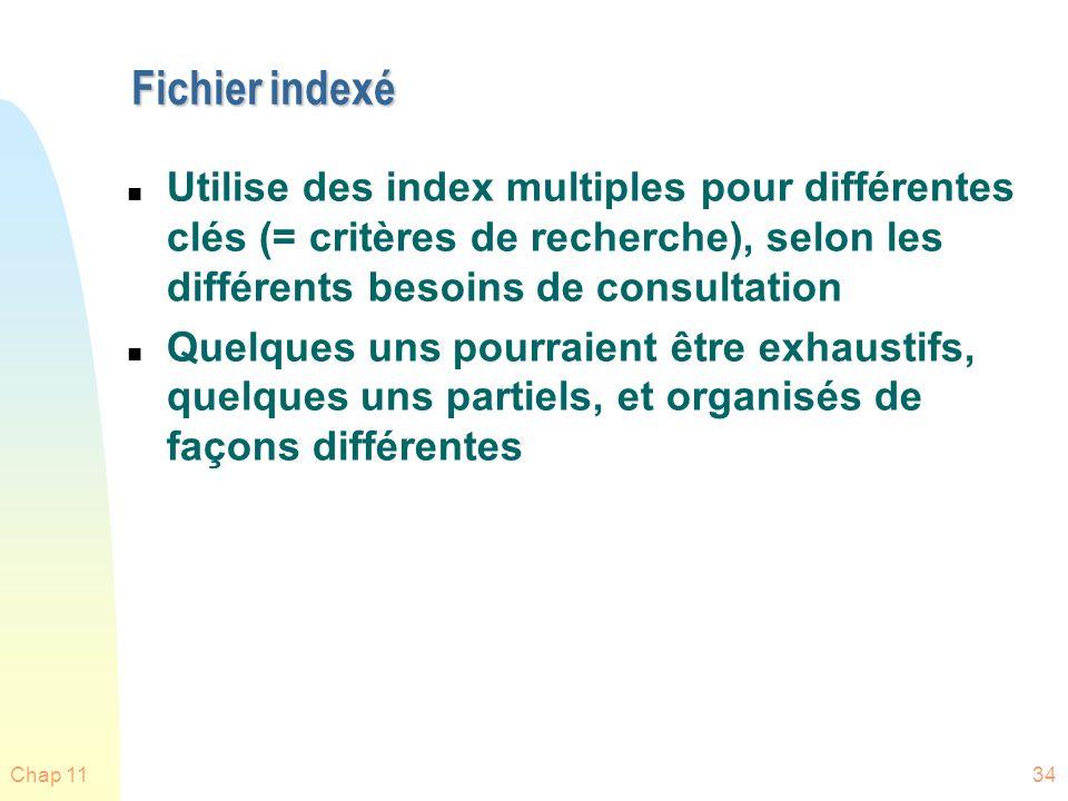 Fichier indexé Utilise des index multiples pour différentes clés (= critères de recherche), selon les différents besoins de consultation.