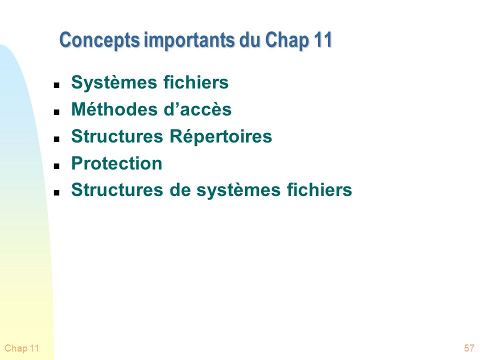 Concepts importants du Chap 11