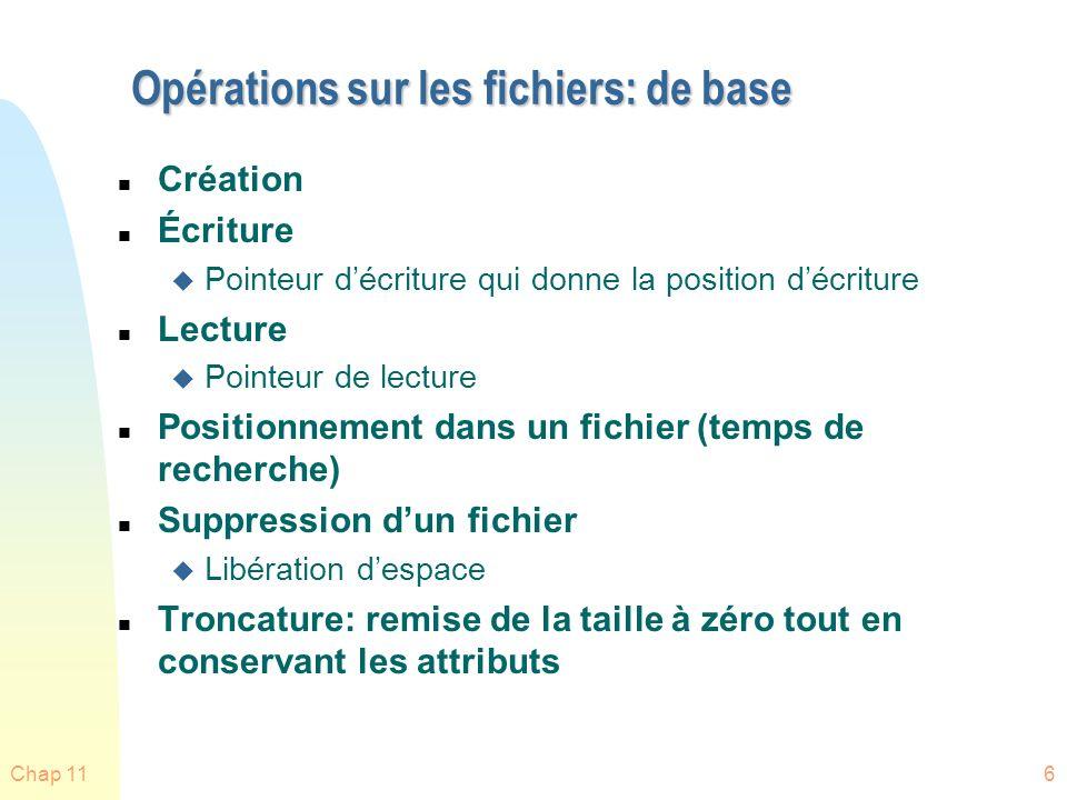 Opérations sur les fichiers: de base