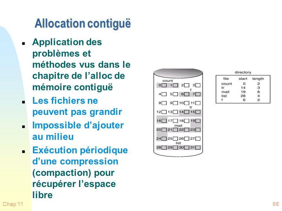 Allocation contiguë Application des problèmes et méthodes vus dans le chapitre de l'alloc de mémoire contiguë.