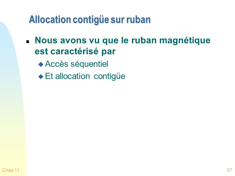 Allocation contigüe sur ruban