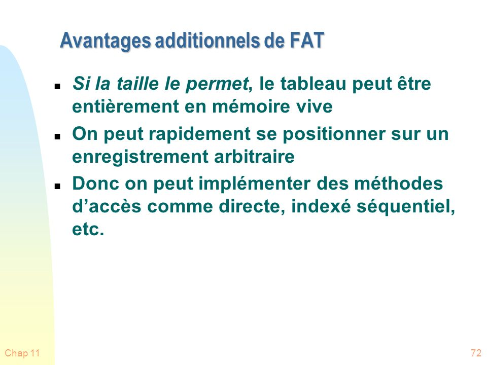 Avantages additionnels de FAT