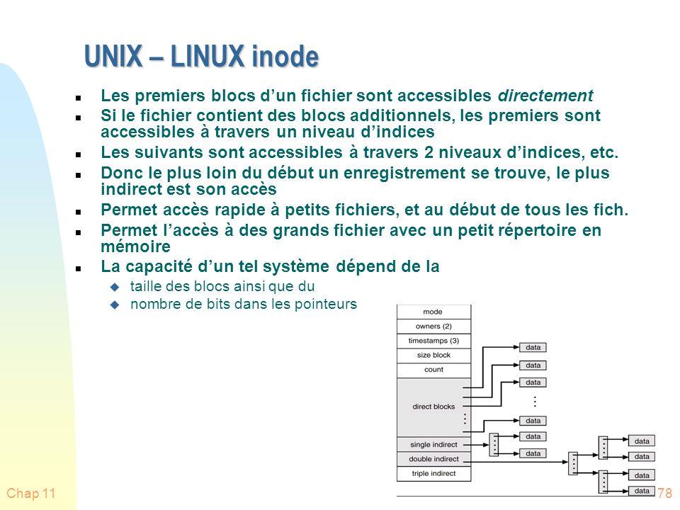UNIX – LINUX inode Les premiers blocs d'un fichier sont accessibles directement.
