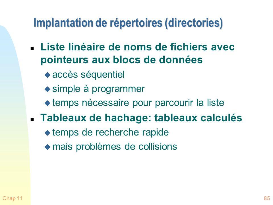 Implantation de répertoires (directories)