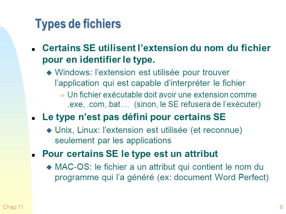 Types de fichiers Certains SE utilisent l'extension du nom du fichier pour en identifier le type.