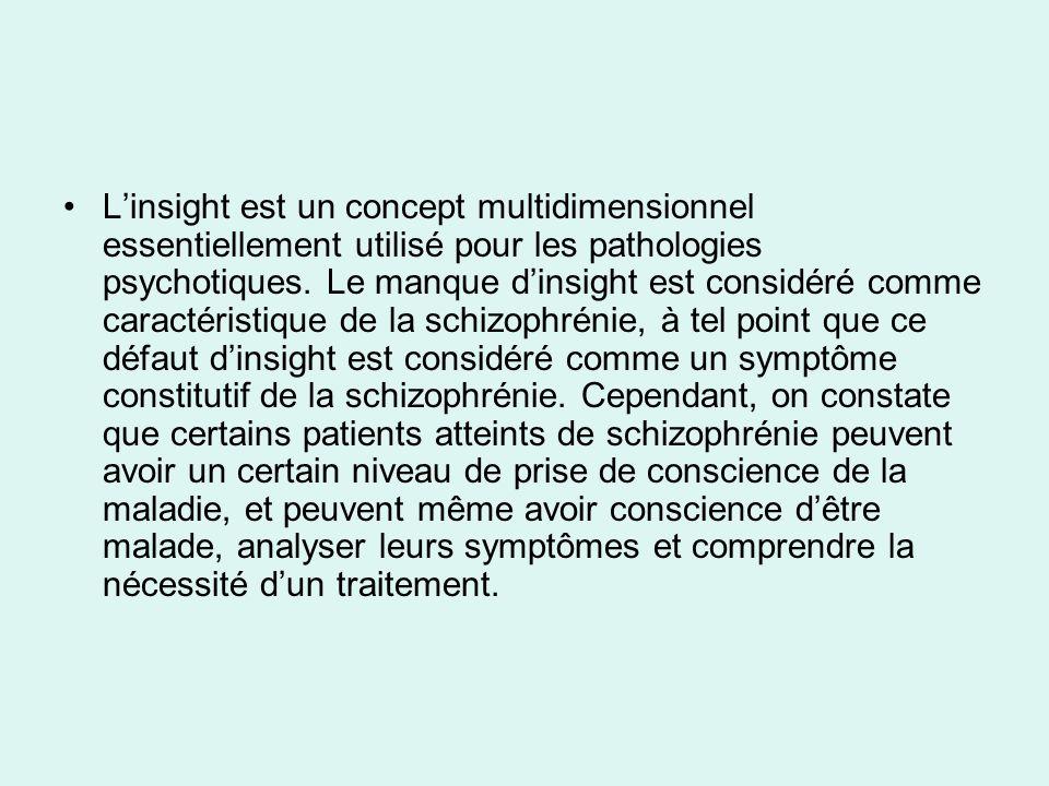 L'insight est un concept multidimensionnel essentiellement utilisé pour les pathologies psychotiques.