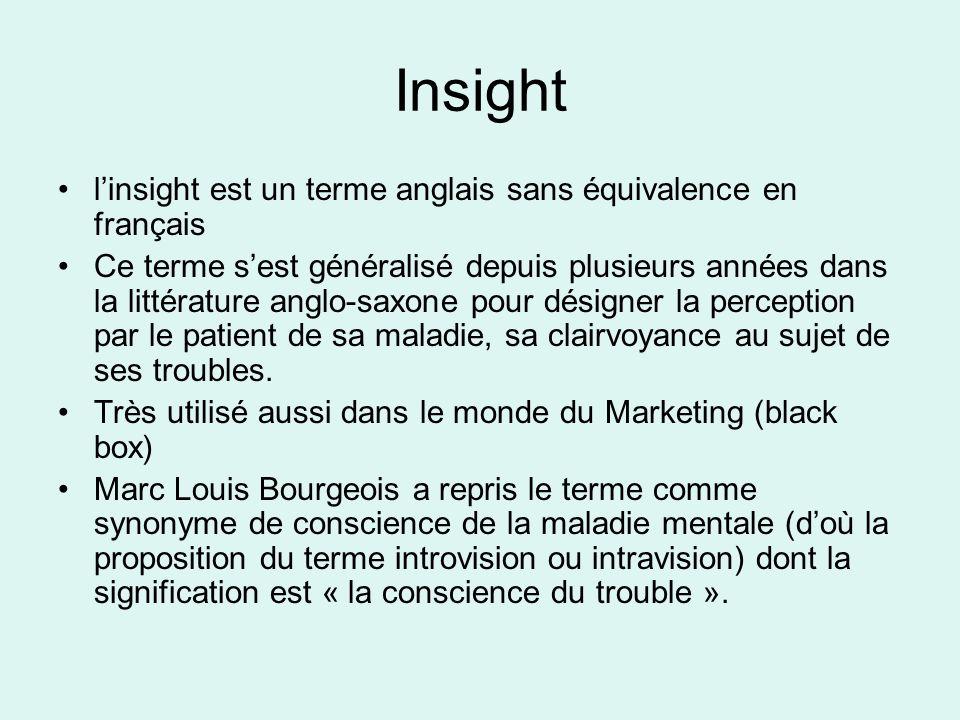 Insight l'insight est un terme anglais sans équivalence en français