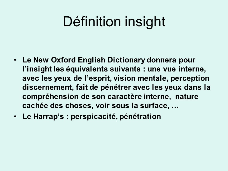 Définition insight