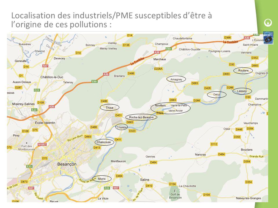 Localisation des industriels/PME susceptibles d'être à l'origine de ces pollutions :