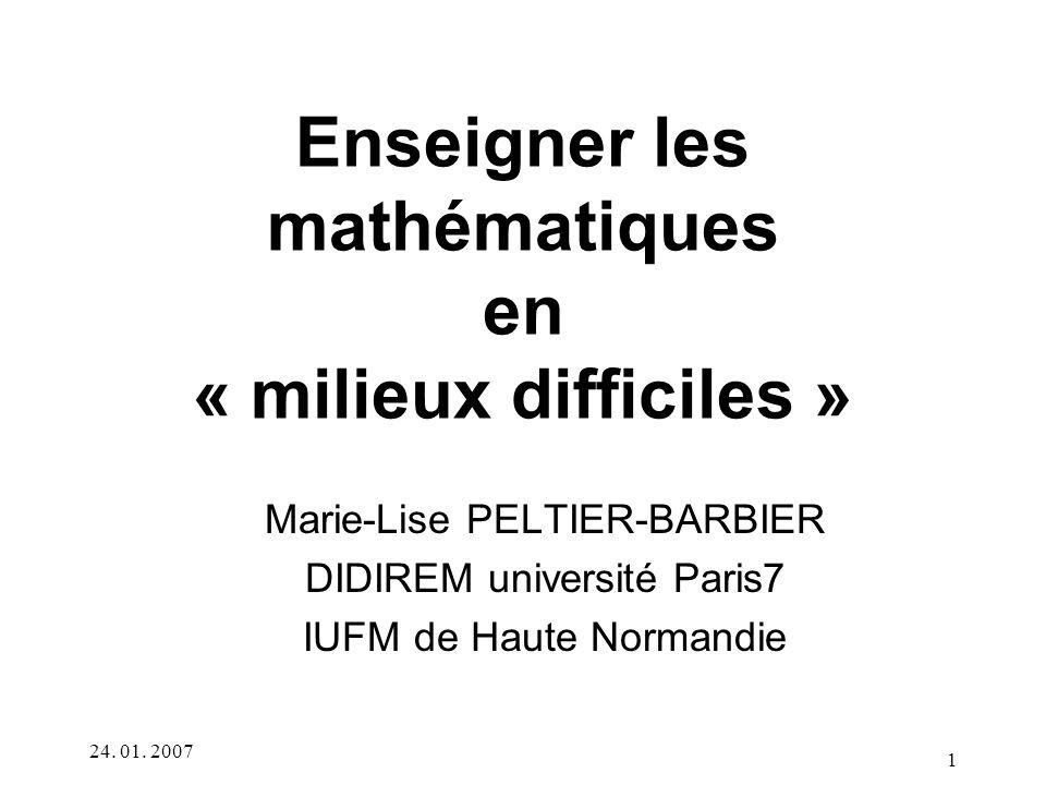 Enseigner les mathématiques en « milieux difficiles »