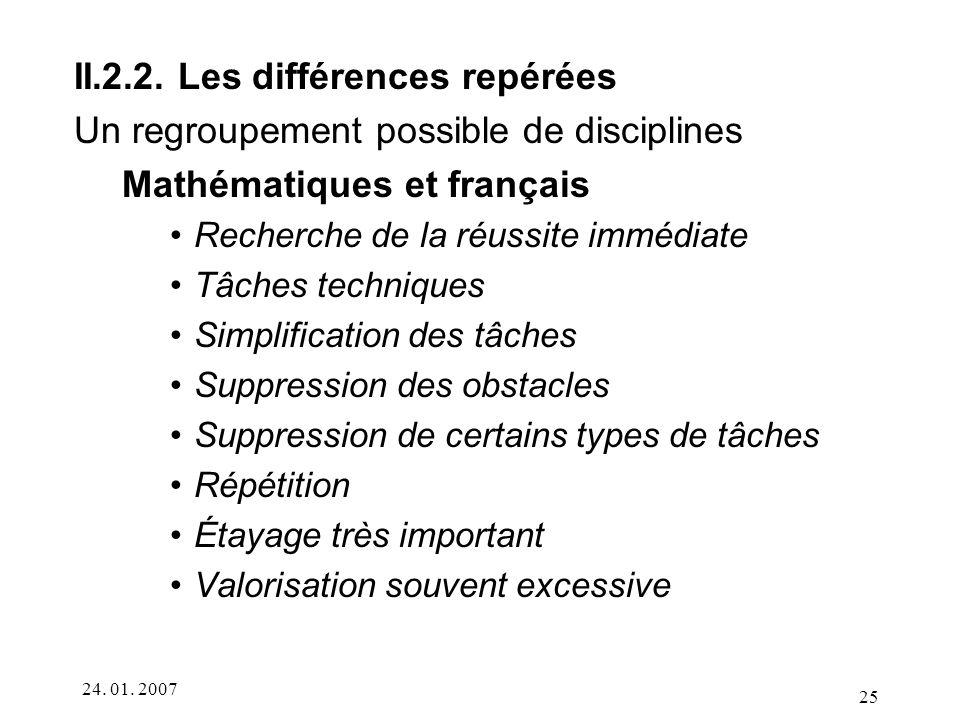 II.2.2. Les différences repérées