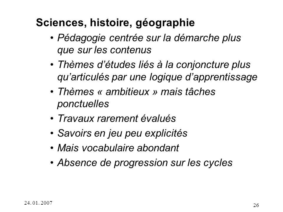 Sciences, histoire, géographie