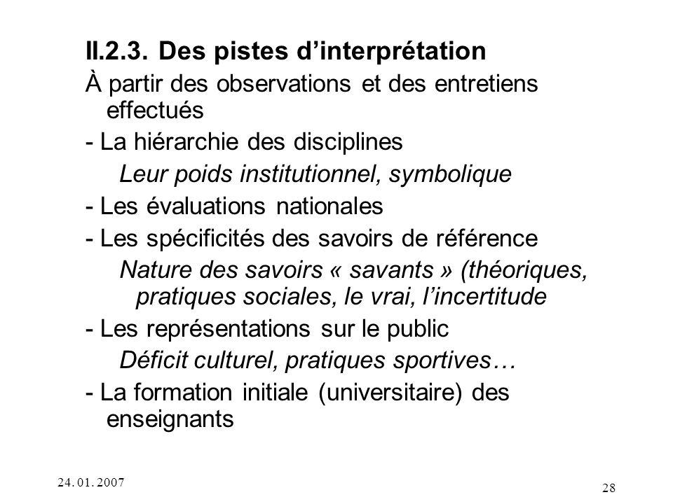 II.2.3. Des pistes d'interprétation