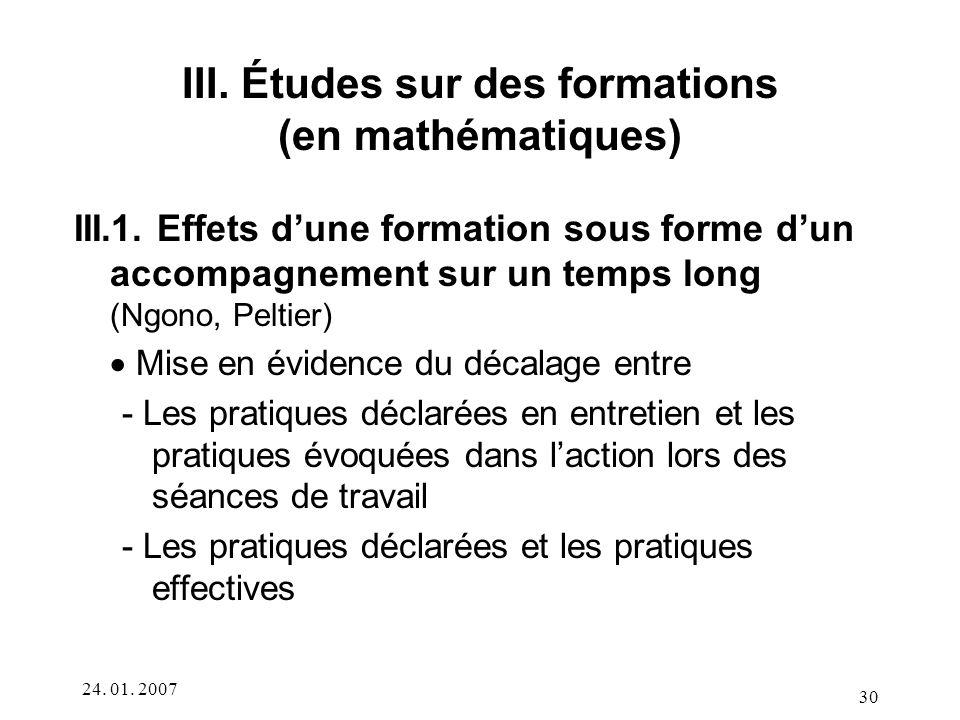III. Études sur des formations (en mathématiques)