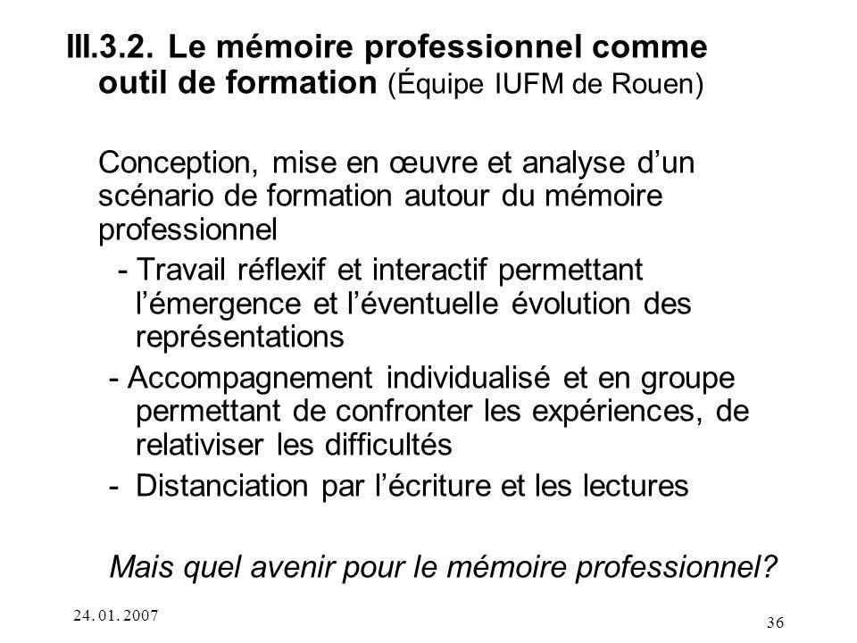 III.3.2. Le mémoire professionnel comme outil de formation (Équipe IUFM de Rouen)