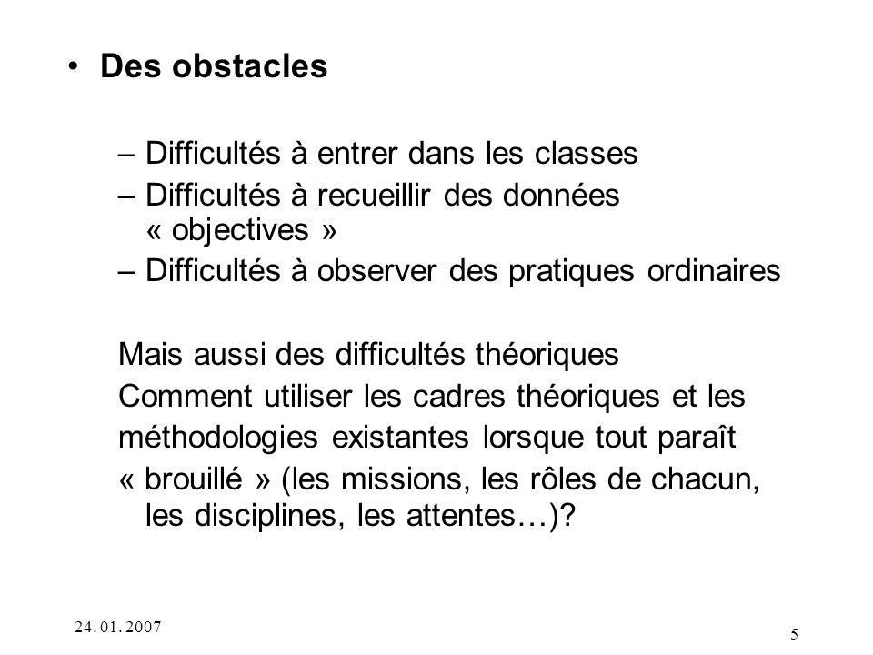 Des obstacles Difficultés à entrer dans les classes