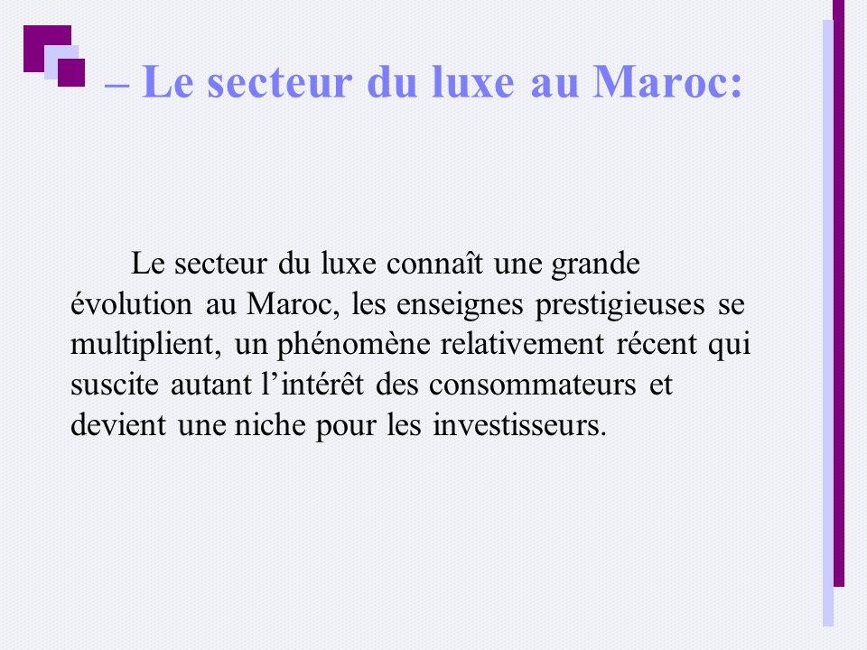 – Le secteur du luxe au Maroc: