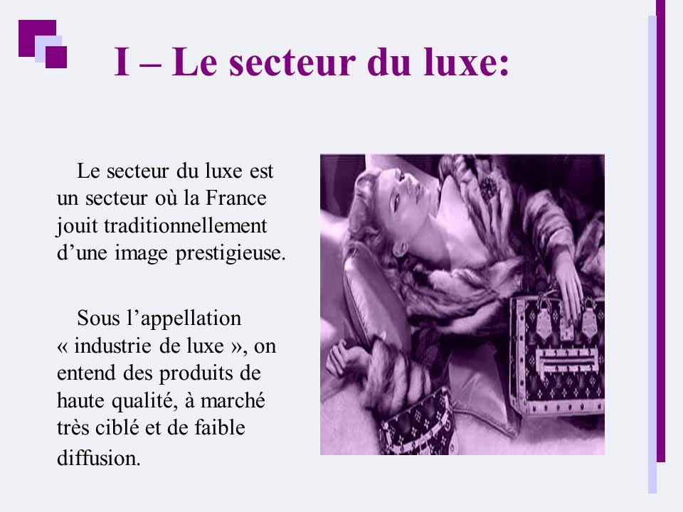 I – Le secteur du luxe: Le secteur du luxe est un secteur où la France jouit traditionnellement d'une image prestigieuse.
