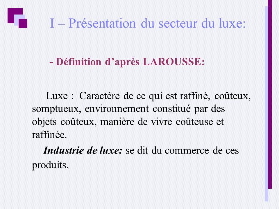 I – Présentation du secteur du luxe: