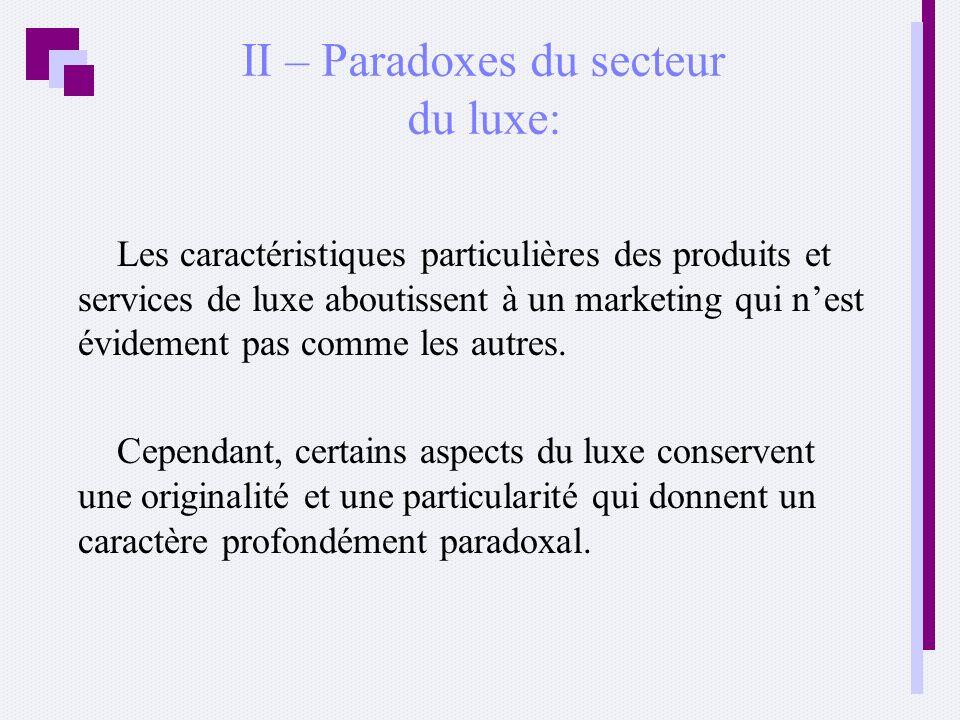 II – Paradoxes du secteur du luxe: