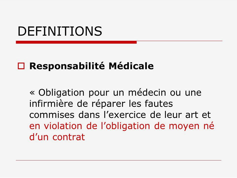DEFINITIONS Responsabilité Médicale