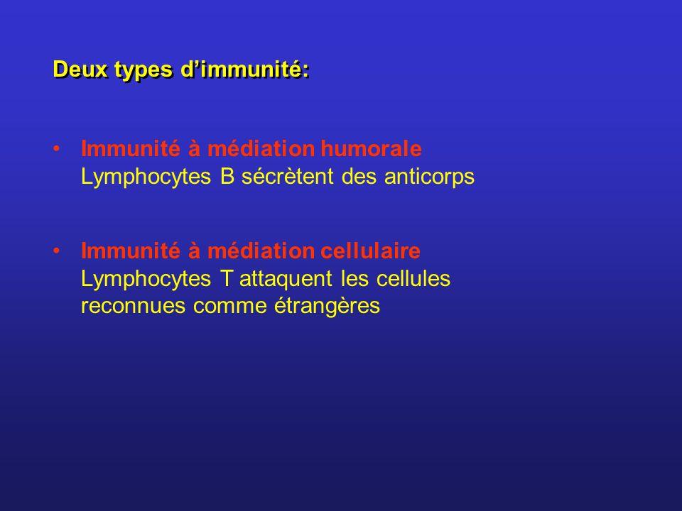 Deux types d'immunité: