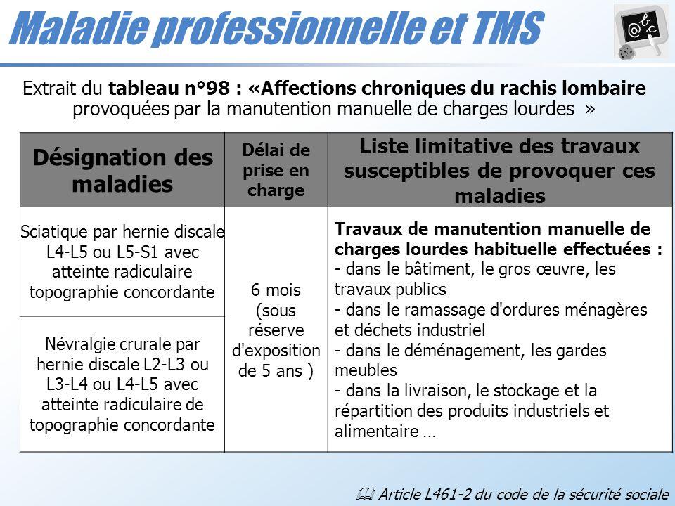 Maladie professionnelle et TMS