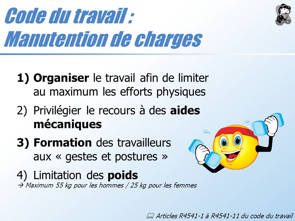 Code du travail : Manutention de charges