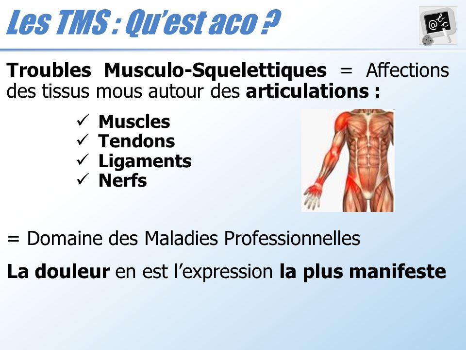Les TMS : Qu'est aco Troubles Musculo-Squelettiques = Affections des tissus mous autour des articulations :