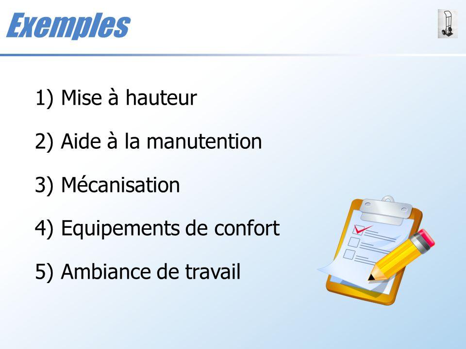 Exemples Mise à hauteur Aide à la manutention Mécanisation