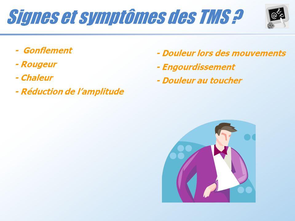 Signes et symptômes des TMS