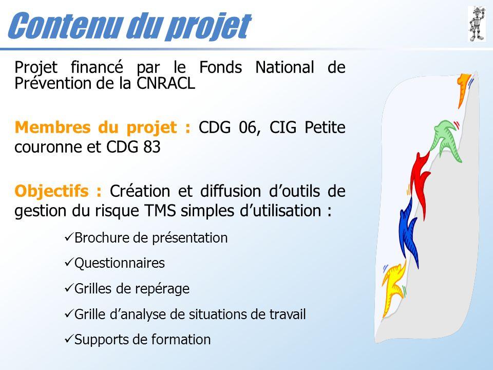 Contenu du projet Projet financé par le Fonds National de Prévention de la CNRACL. Membres du projet : CDG 06, CIG Petite couronne et CDG 83.