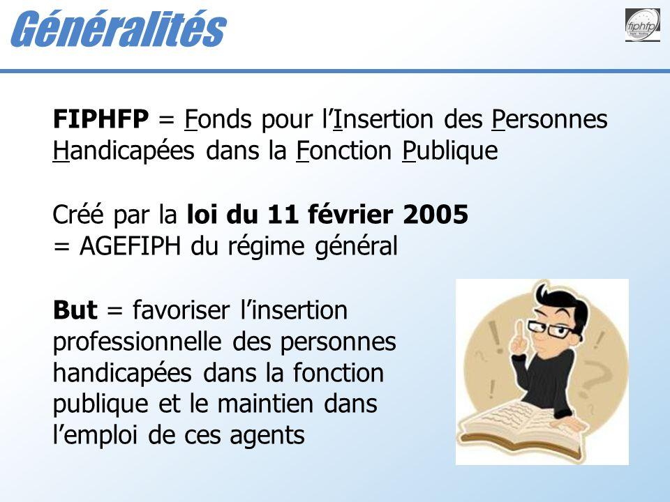 Généralités FIPHFP = Fonds pour l'Insertion des Personnes Handicapées dans la Fonction Publique.