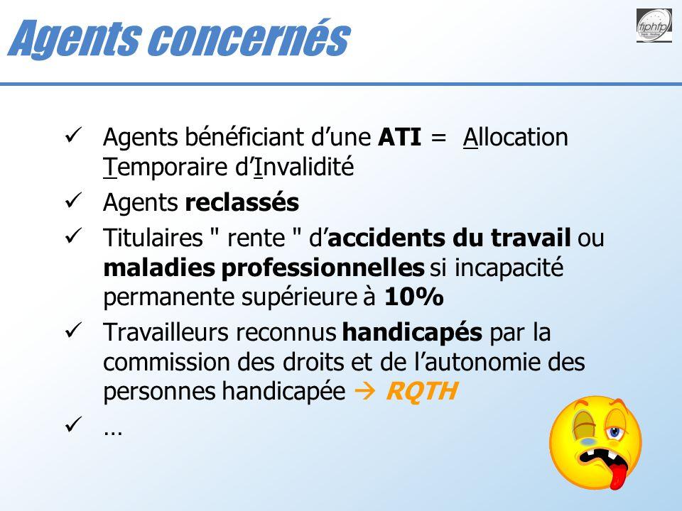 Agents concernés Agents bénéficiant d'une ATI = Allocation Temporaire d'Invalidité. Agents reclassés.