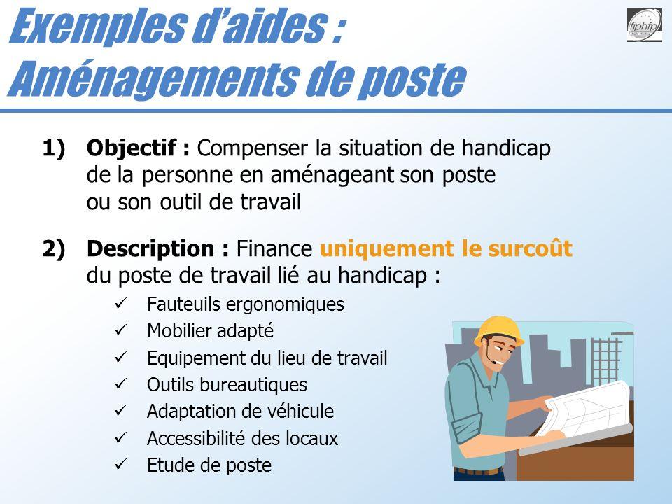 Exemples d'aides : Aménagements de poste