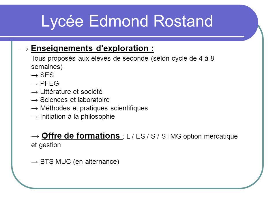 Lycée Edmond Rostand → Enseignements d exploration :
